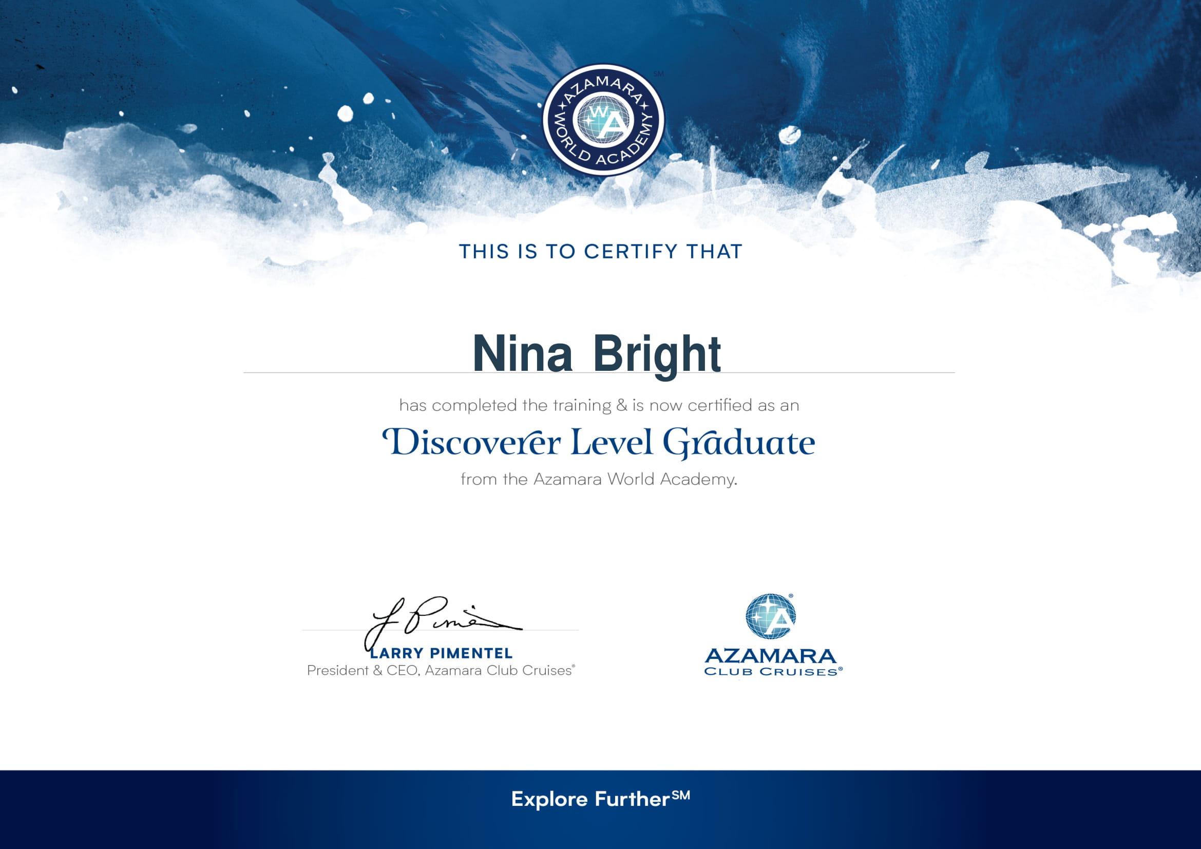 Azamara World Acadrmy Discoverer Level Graduate Certificate-1