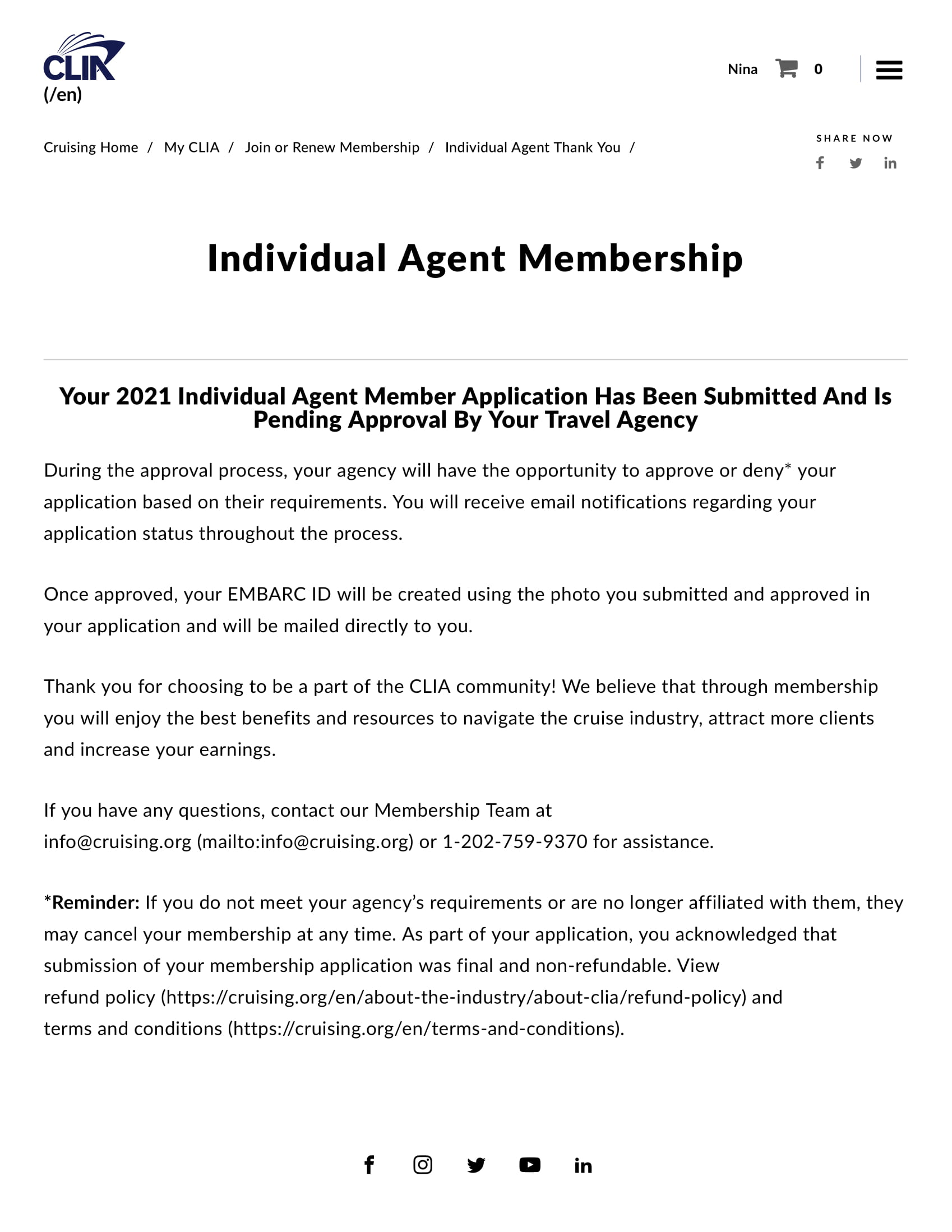 CLIA - Individual Agent affiliated with Expedia Cruises - Membership Pending Approval-1