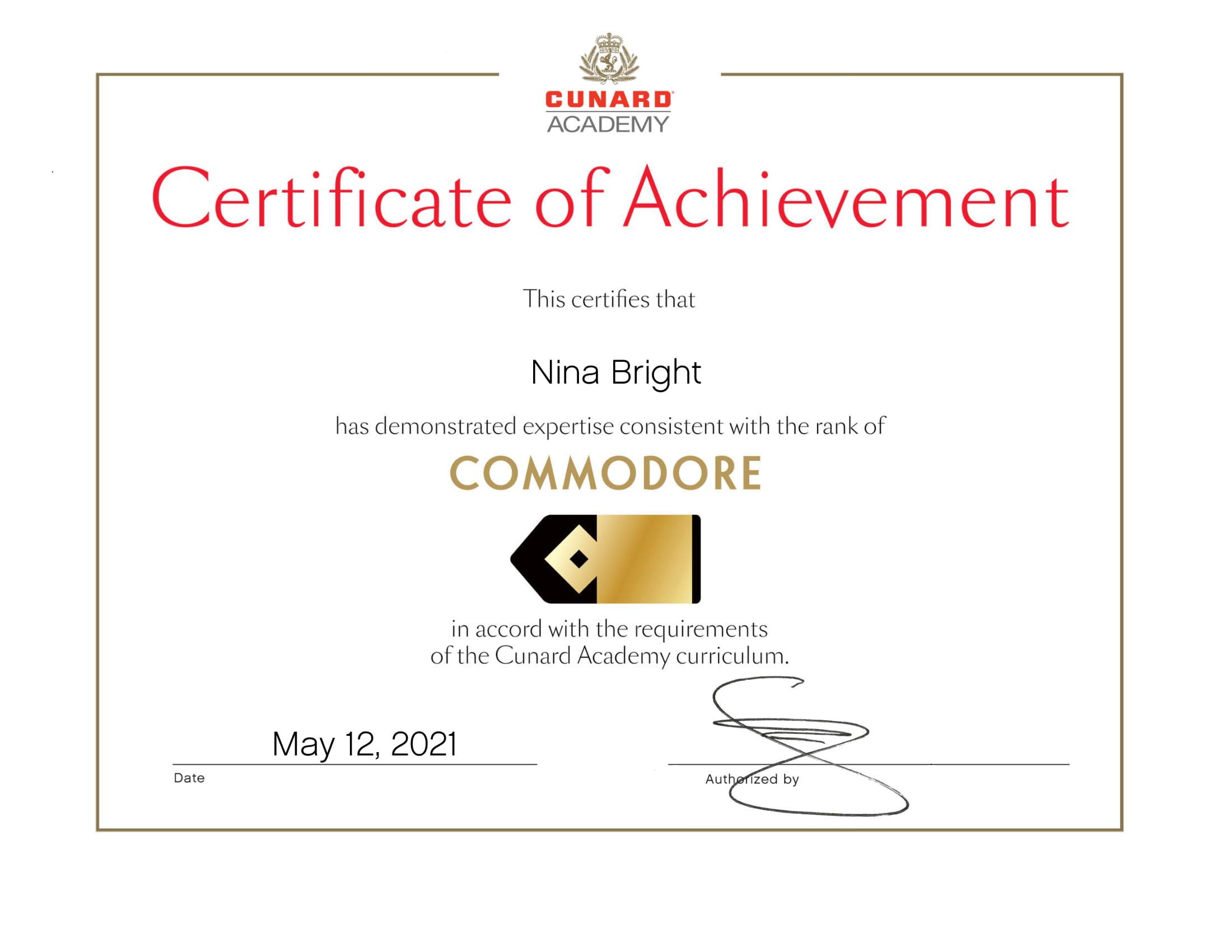 Cunard - Commodore Certificate of Achievement Certificate-1