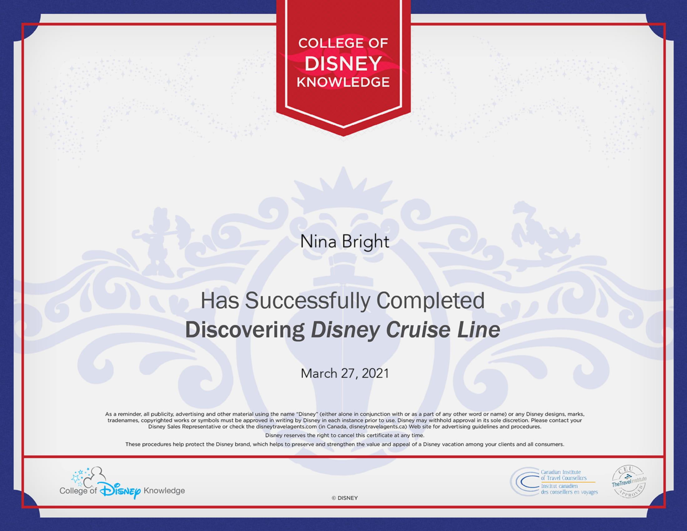 Disney College of Disney - Discovering Disney Cruise Line Certificate-1