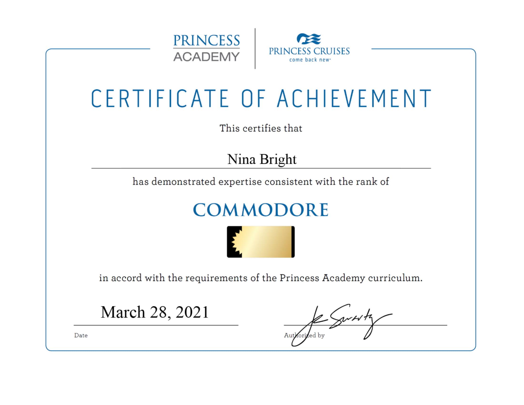 Princess Cruises Commodore Certificate-1
