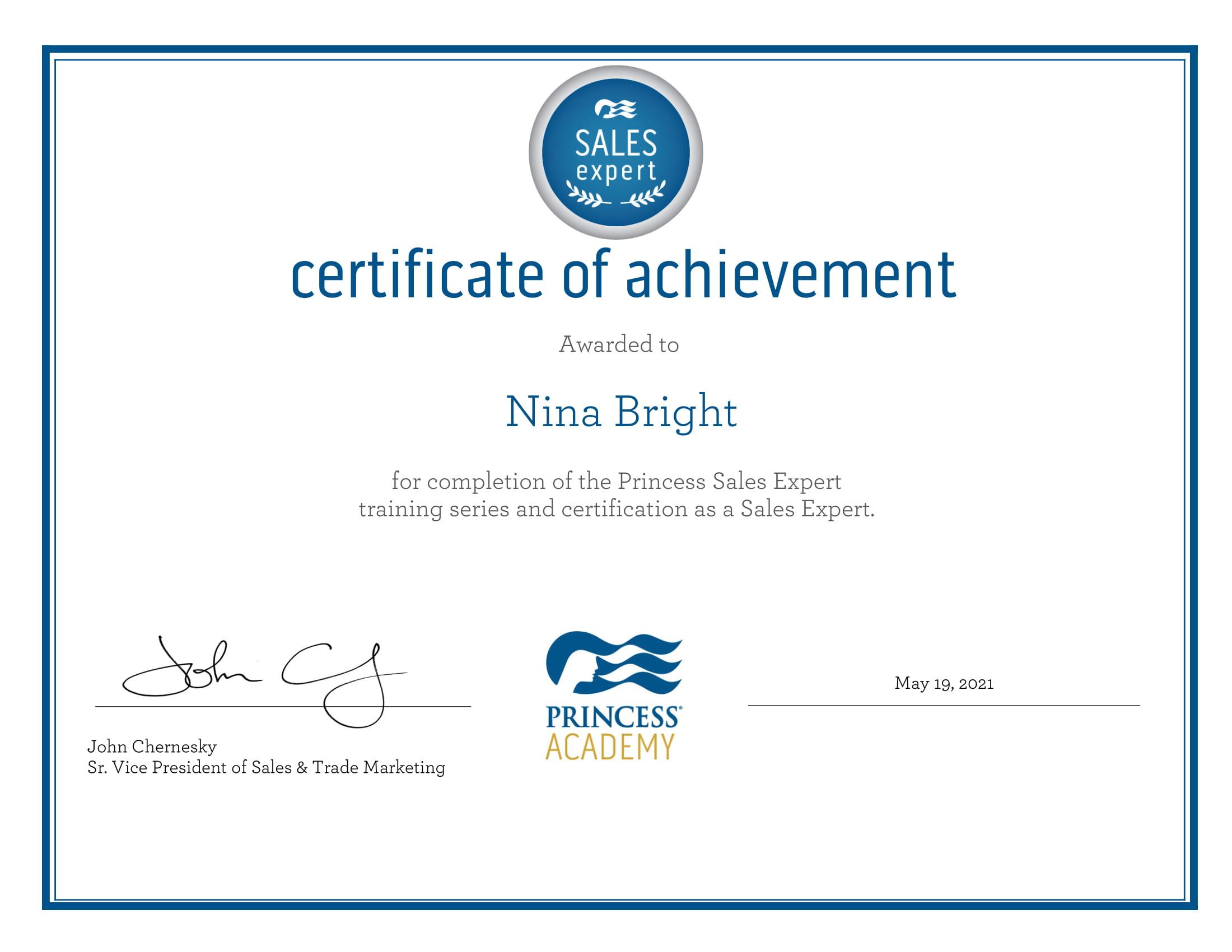 Princess Cruises Sales Expert Certificate-1