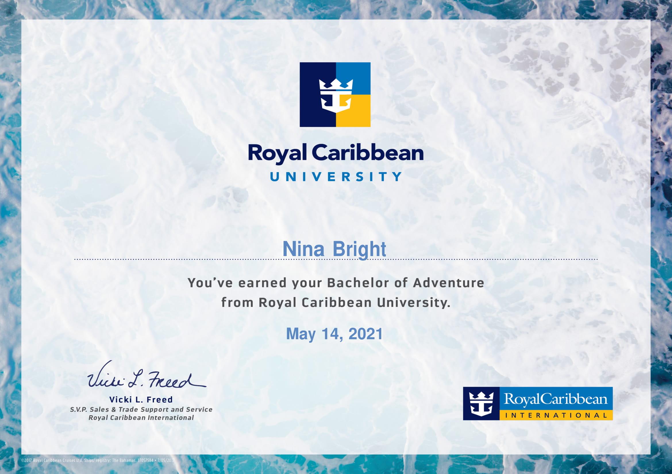 Royal Caribbean - Bachelor of Adventure Certificate-1