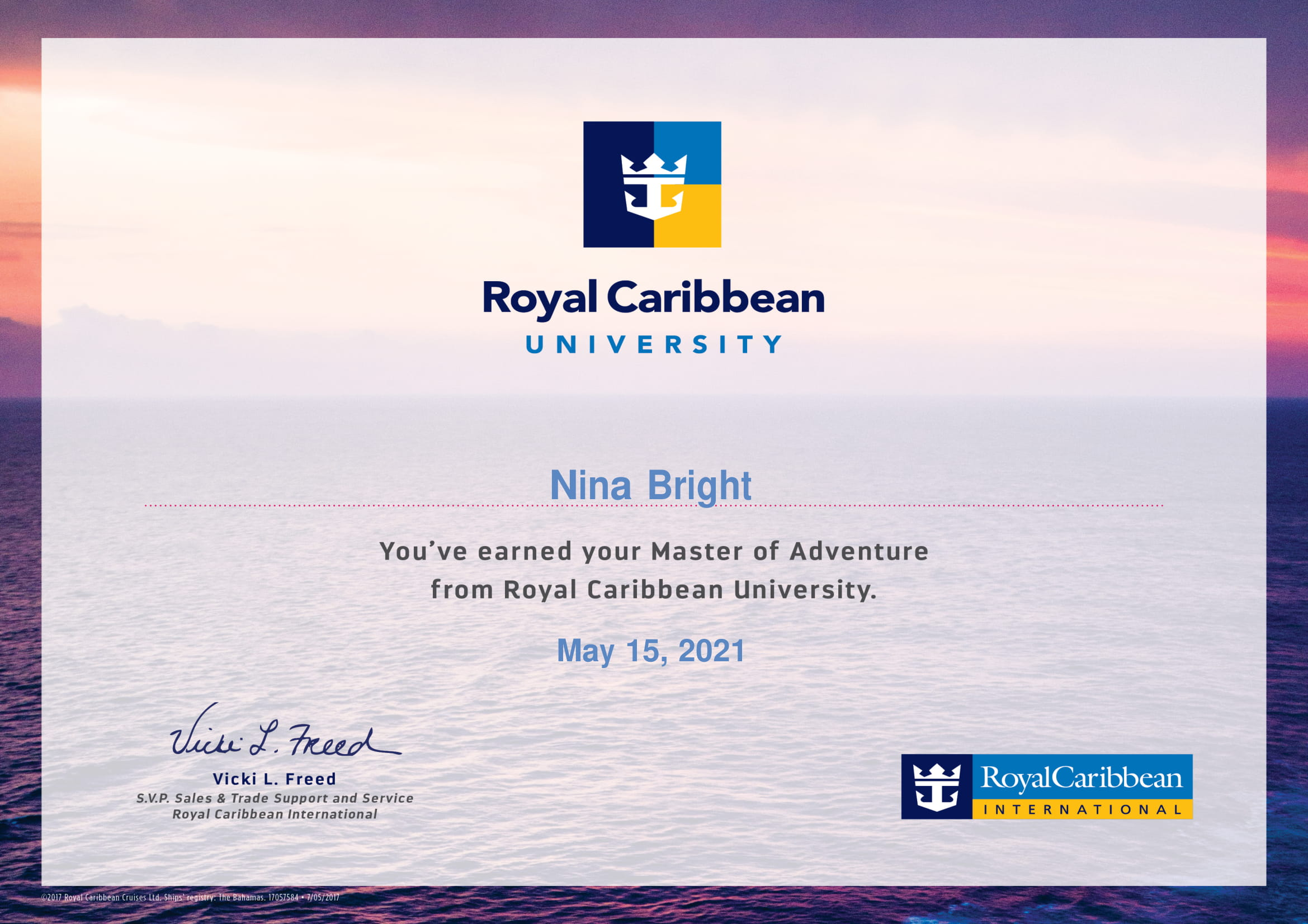 Royal Caribbean - Master of Adventure Certificate-1